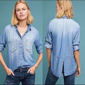 Anthro | Cloth & Stone Split Back Chambray Shirt M
